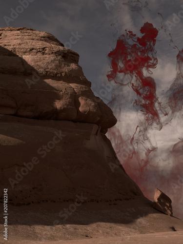 Fotobehang Chocoladebruin Rocky landscape with red mist