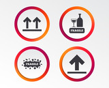 Fragile icons. Delicate package delivery signs. This side up arrows symbol. Infographic design buttons. Circle templates. Vector - 207823501