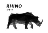 Rhino consists of triangles. Low poly Rhino. Vector illustration - 207825304