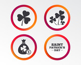 Saint Patrick day icons. Money bag with clover and coin sign. Trefoil shamrock clover. Symbol of good luck. Infographic design buttons. Circle templates. Vector