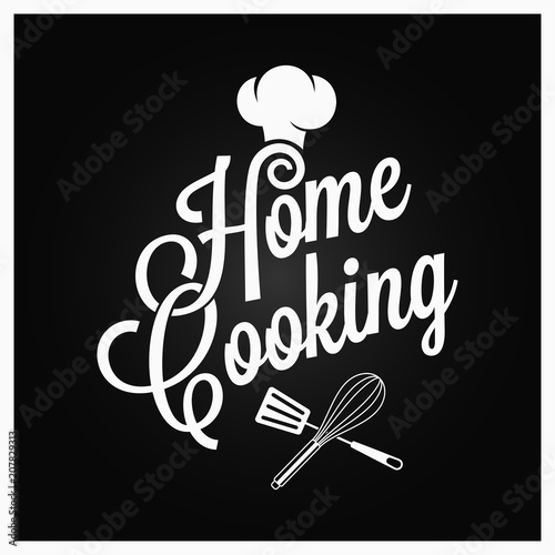 Poster Home cooking vintage lettering with kitchen utensils on dark background