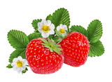 Strawberry with flower isolated on white background - 207829732