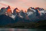 Torres del Paine National park at sunrise. Chile