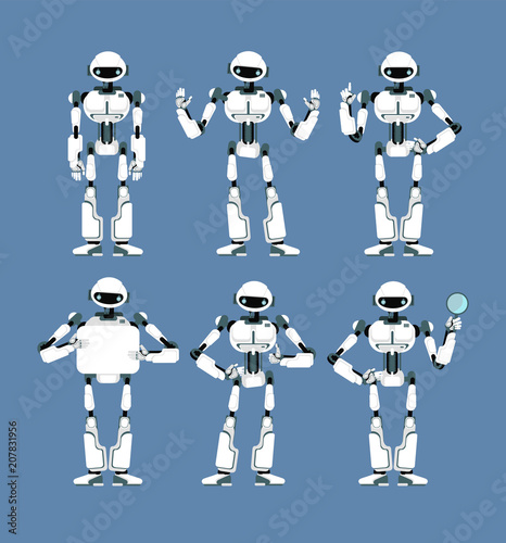 Cybernetic robot android with bionic arms and eyes in different poses. Cute cartoon scifi humanoid mascot set