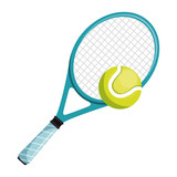 tennis racket and ball isolated icon vector illustration design - 207838523