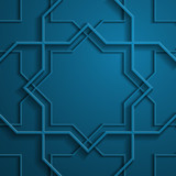 3D octagon frames on dark blue background