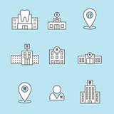 Dentist location icon set - dental images, dental building with windows