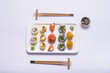 sushi on white table