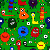 Seamless Pattern of Brightly Colored Monsters