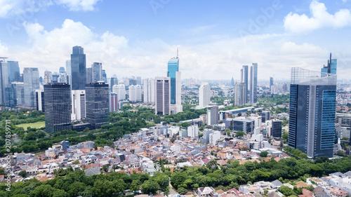 Leinwanddruck Bild Beautiful Jakarta cityscape at sunny day