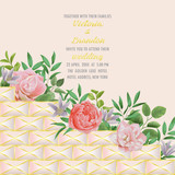 Wedding invitation with Geometric Elemetns, Flowers and Greenery - 207863774