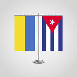 Table stand with flags of Ukraine and Cuba.Two flag. Flag pole. Symbolizing the cooperation between the two countries. Table flags