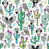 Cute blooming vector cactuses and desert owls on white background. Perfect for fabric, wrapping paper or nursery decor.