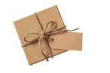 Beige isolated recycle gift box top view with tag on a white background - 207866748