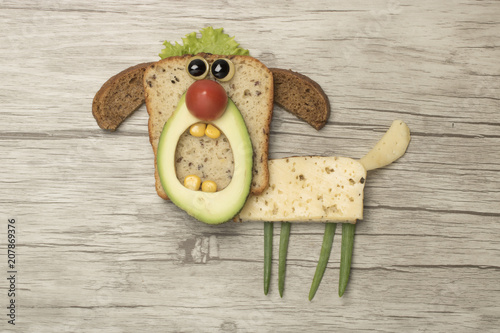 Dog compiled with food ingredients on board