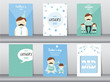 Set of Happy Father's Day card ,poster,template,greeting cards,son,hug,Vector illustrations