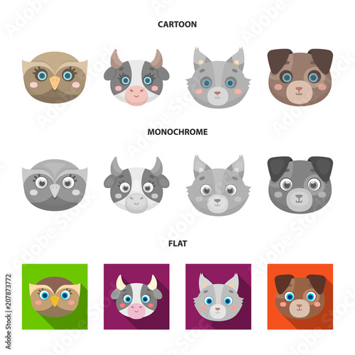 Aluminium Uilen cartoon Owl, cow, wolf, dog. Animal muzzle set collection icons in cartoon,flat,monochrome style vector symbol stock illustration web.