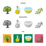 An olive tree, a branch with olives, a vessel and a jug of oil. Olives set collection icons in cartoon,flat,monochrome style vector symbol stock illustration web.
