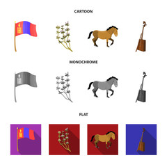 National flag, horse, musical instrument, steppe plant. Mongolia set collection icons in cartoon,flat,monochrome style vector symbol stock illustration web.