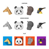 Panda, giraffe, hippopotamus, penguin, Realistic animals set collection icons in cartoon,flat,monochrome style vector symbol stock illustration web. - 207874523