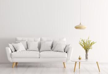 White interior of living room with sofa 3d rendering © Vadim Andrushchenko