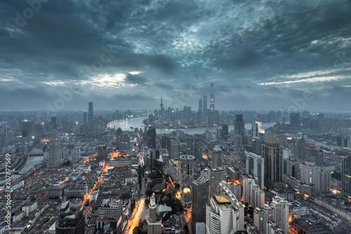 Aluminium Shanghai Shanghai skyline and cityscape at dawn