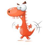 Funny, cute, crazy dinosaur illustration Vector eps 10