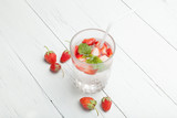 Strawberry and mint fruit detox aroma water.