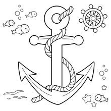 Nautical   Anchor Boat Rudder And Fish  Rope Black And  Coloring Book Page Sticker