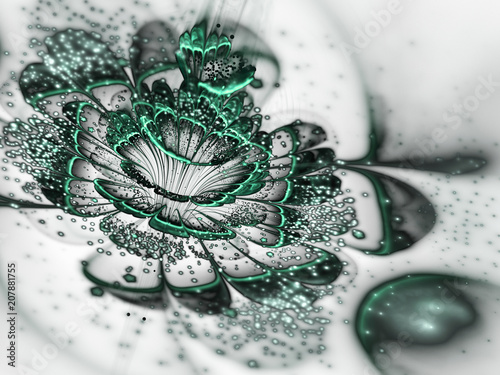 Green fractal flower with pollen, digital artwork for creative graphic design - 207881755