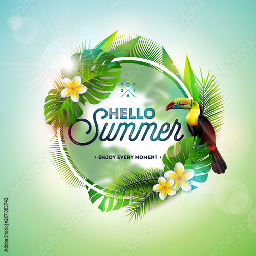 Hello Summer illustration with toucan bird on tropical background. Exotic leaves and flower with holiday typography element. Vector design template for banner, flyer, invitation, brochure, poster or - 207883742