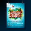 Vector Summer Beach Party Flyer Design with typographic elements on wood texture background. Summer nature floral elements, tropical plants, flower, toucan bird and air balloon with blue cloudy sky