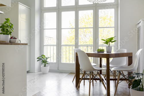 Foto Murales White chairs at wooden table with plant in bright dining room interior with window. Real photo