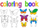 book coloring butterfly, set