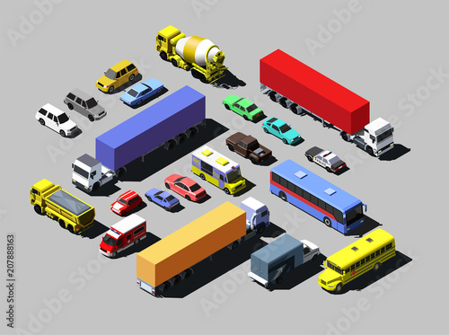 Vector isometric road cars, trucks and other vehicles