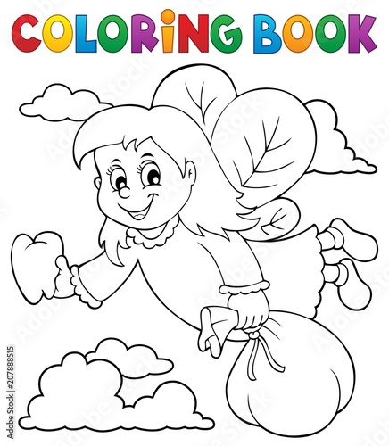Canvas Voor kinderen Coloring book tooth fairy theme 1