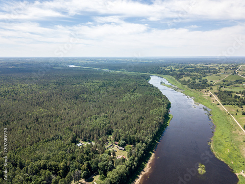 Fotobehang Pistache drone image. aerial view of Daugava river, largest in Latvia