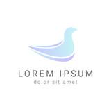 blue bird minimal vector logo design template, dove icon, freedom sign, curve symbol, vector illustration