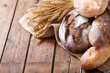 Fresh baked bread with wheat ears