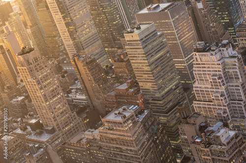Fotobehang New York Aerial view of New York City skyline with Manhattan midtown urban skyscrapers at dramatic after the storm sunset, USA.