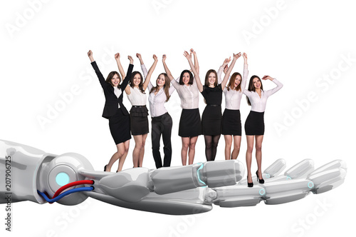 Poster Robotic hand holds group of business people. 3d rendering
