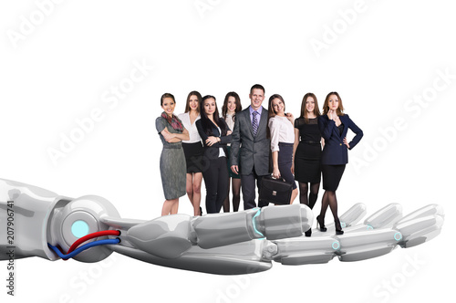 Fridge magnet Robotic hand holds group of business people. 3d rendering