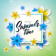 Its Summer Time illustration with flower on nature green background. Tropical Holiday typographic design template for banner, flyer, invitation, brochure, poster or greeting card. - 207906902