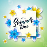 Its Summer Time illustration with flower on nature green background. Tropical Holiday typographic design template for banner, flyer, invitation, brochure, poster or greeting card.