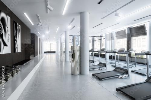 Plexiglas Fitness Laufbänder im Fitness-Zenter, leer (Konzept)