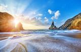 Portugal Ursa Beach at atlantic coast of Ocean with rocks
