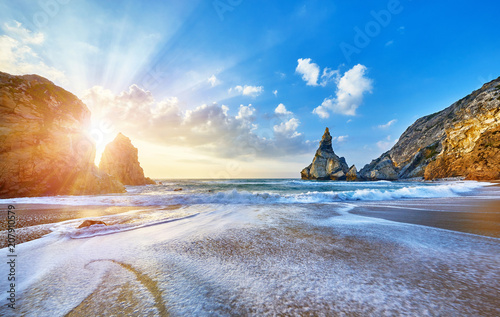 Fotobehang Strand Portugal Ursa Beach at atlantic coast of Ocean with rocks