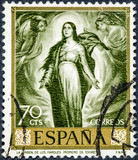 stamp printed by Spain, shows The Virgin of the lanterns by Romero de Torres - 207911323