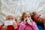 kids wiping and blowing nose - 207913963