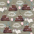 Seamless vector texture with pony. A horse is depicted, a birthday sign, a ball and a chocolate cake. - 207918701